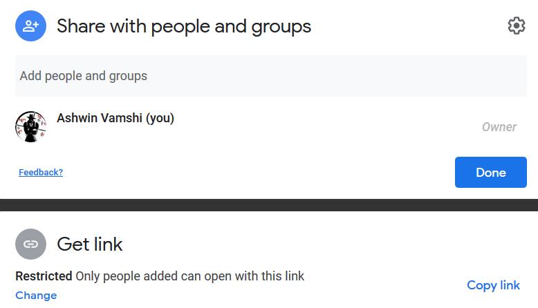 Figure showing default shareable link restriction