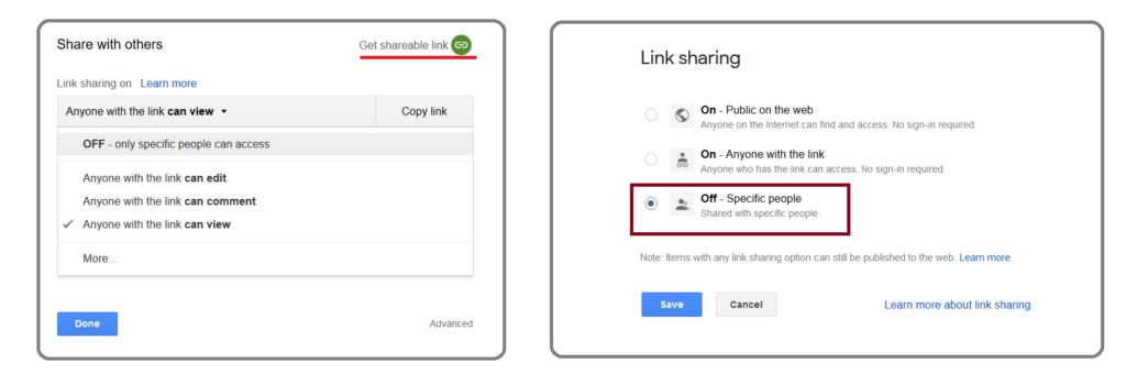 Figure depicting how to share links with specific people through Google Drive