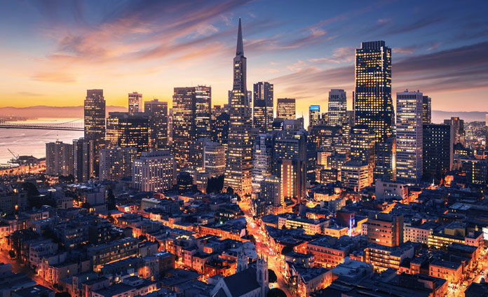 San Francisco skyline in the evening