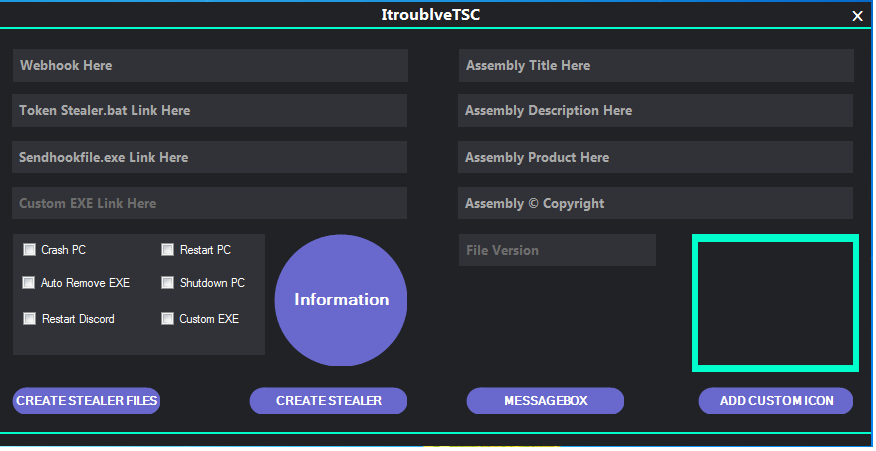 "Screenshot shoiwng executable named ""ItroublveTSC.exe"" that is used to generate the malware and its components"