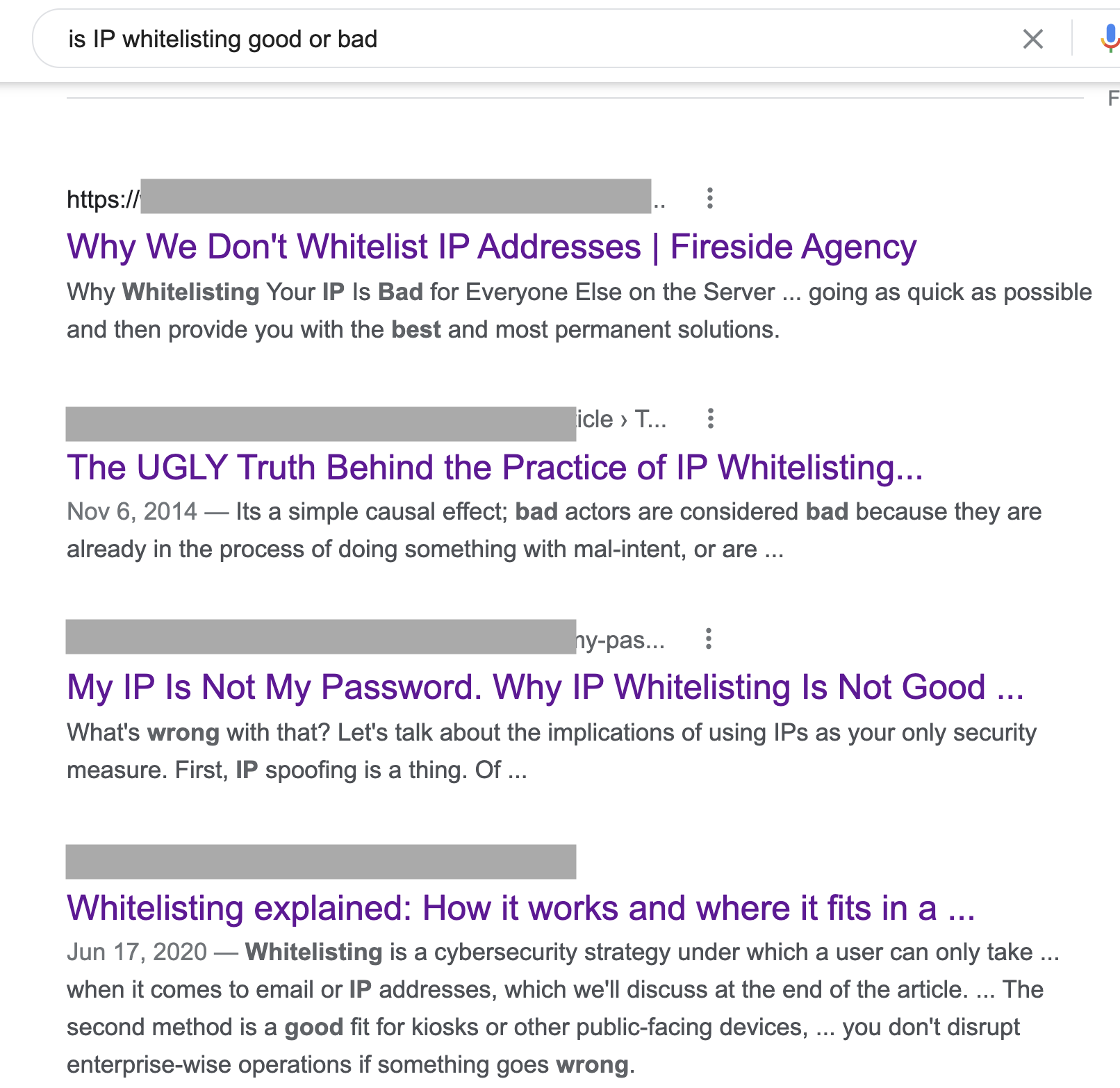 """Googel search for """"Is IP whitelisting good or bad"""""""
