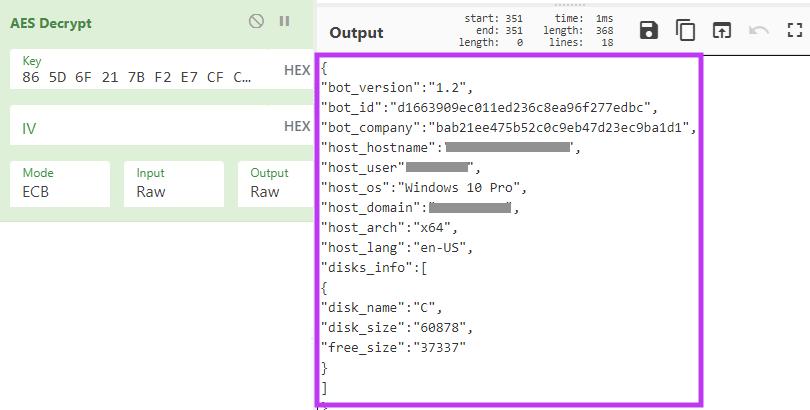 Figure decrypting BlackMatter's C2 request.