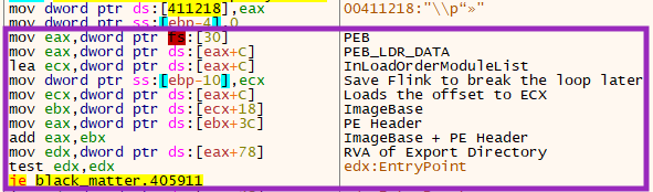 Figure showing BlackMatter function searching loaded modules using the PEB.