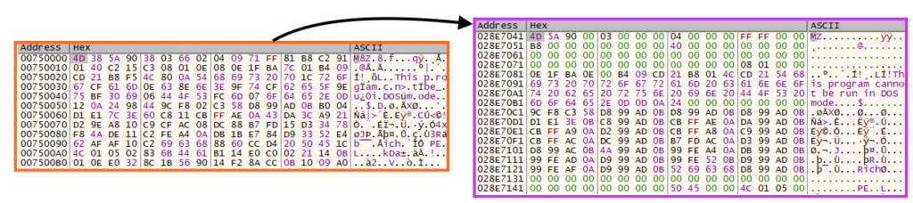Example of SquirrelWaffle payload DLL being decompressed.